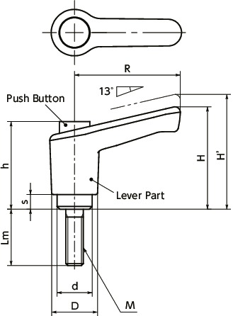 LECM-CClamp Lever - Miniature Type, Male Screw - with Push Button寸法図