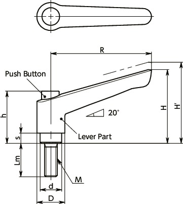 LEM-CPlastic Clamp Lever, Male Screw - with Push Button寸法図