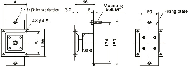 DFK-AFDisplay Mounting Systems - 360° Rotation Type - Bolt Retention寸法図