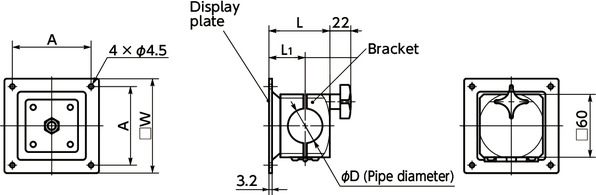 DFR-PBDisplay Mounting Systems - Fixed Type寸法図