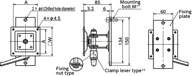 DFS-AFDisplay Mounting Systems - Single Axis Type - Clamp Lever Retention寸法図