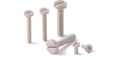 SPE-PS(INCH)Plastic Screws - Slotted Pan Head Machine Screws - PEEK - Inch Thread