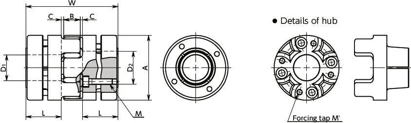MJB-EBLFlexible Couplings - Jaw Type (Bushing)寸法図