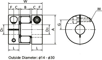 MJC-CS-BLFlexible Coupling - Jaw-Type - Clamping Type寸法図