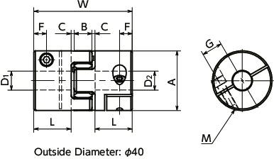 MJC-CS-RDFlexible Coupling - Jaw-Type - Clamping Type寸法図
