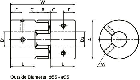 MJC-EGRFlexible Coupling - Jaw-Type - Set Screw Type寸法図