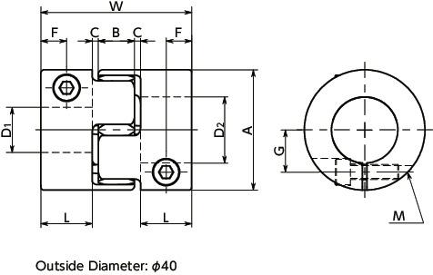 MJS-CS-EWHFlexible Coupling -Jaw-Type (Short) - Clamping Type寸法図