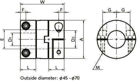 MOM-CFlexible Couplings - Oldham Type - Clamping Type寸法図