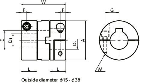 MOM-CKFlexible Couplings - Oldham Type - Clamping + Key Type寸法図