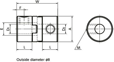 MOSFlexible Couplings - Oldham Type - Set Screw Type / Clamping Type寸法図