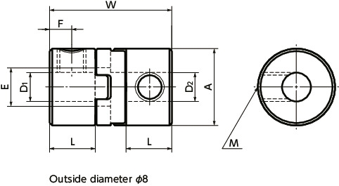 MOSFlexible Couplings - Oldham Type - Set Screw Type / Clamping Type寸法図