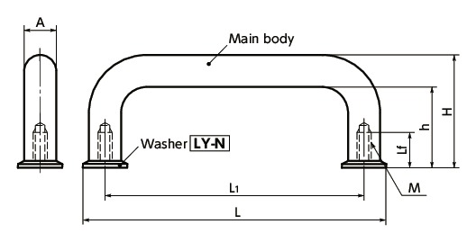UNF-H-WU-shaped Pull - with Washer寸法図