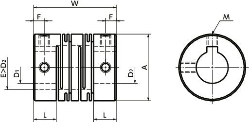MSTS-KFlexible Coupling - Slit - Type - Set Screw + Key Type寸法図