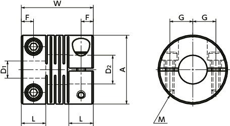 MSXP-CCleanroom / Vacuum / Heat Resistant Coupling - Slit-Type (PEEK) - Clamping Type寸法図