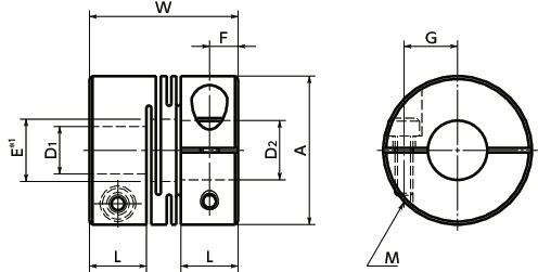 MWSS-CFlexible Coupling - Slit Type - Clamping Type寸法図