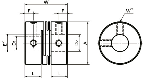 MWSSFlexible Coupling - Slit Type - Set Screw Type寸法図