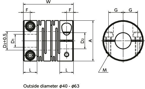 XSTS-CCleanroom, Vacuum, Heat Resistant Coupling - Slit - Type (SUS316L) - Clamping Type寸法図