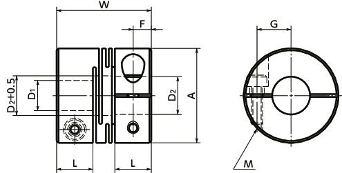XWSS-CCleanroom / Vacuum / Heat Resistant Coupling - Slit Type (SUS316L) - Clamping Type寸法図