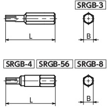 SRGBSpecial Bits for Tamper Resistance Screws寸法図