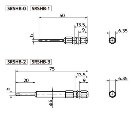 SRSHBSpecial Bits for Tamper Resistance Screws寸法図