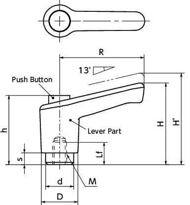 LECFS-CClamp Lever - Miniature Type, Female Screw - with Push Button寸法図