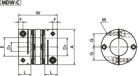 MDWFlexible Couplings - Disk Type寸法図