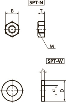 SPT-WPlastic Screw - Hex Nuts / Washers - PTFE:Teflon寸法図