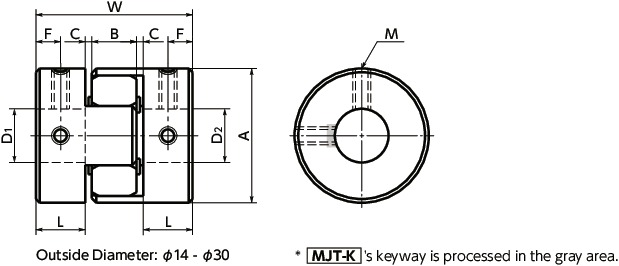 VXB Brand Japan MJC-40-RD 9.525mm to 10mm Jaw-Type Flexible Coupling Coupling Bore 2 Diameter:10mm Coupling Length 66 Coupling Outer Diameter:40