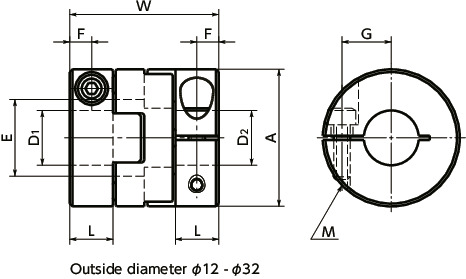 MOS-CFlexible Couplings - Oldham Type - Set Screw Type / Clamping Type寸法図