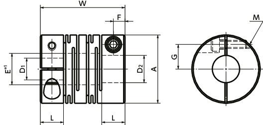 5//8 and 38 mm Bore Diameters Aluminum A2017 NBK MJC-65-BL-5//8-38 Jaw Flexible Coupling Set Screw Type