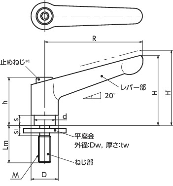 LDMS-6-LW20_クランプレバー - 平座金組み込みタイプ|NBK【鍋屋