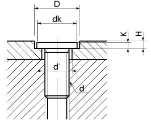 六角穴付き極低頭ボルト加工穴寸法(参考値) Nbk【鍋屋バイテック会社】